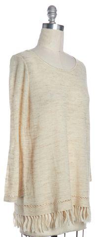 JOIE Beige Fringe Trim Long Sleeve Knit Top