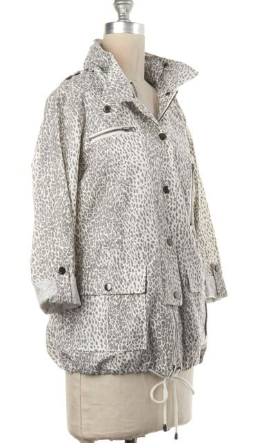 JOIE White Gray Leopard Print Zip Up Hooded Jacket