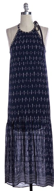 JOIE Blue Abstract Print Silk Maxi Dress