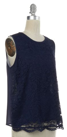 JOIE Navy Blue Lace Silk Sleeveless Blouse