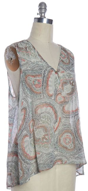 JOIE Green Multicolor Abstract Print Sleeveless Silk Blouse Top