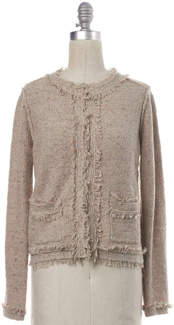 JOIE Beige Speckle Knit Fringe Trim Cardigan Sweater