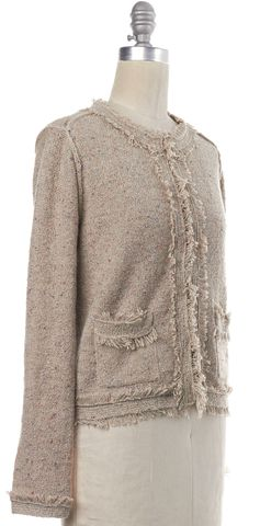 JOIE Beige Speckle Knit Fringe Trim Cardigan Sweater