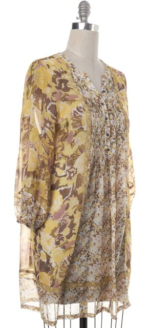 JOIE Yellow Beige Floral Silk Pleated Button Up Peasant Dress