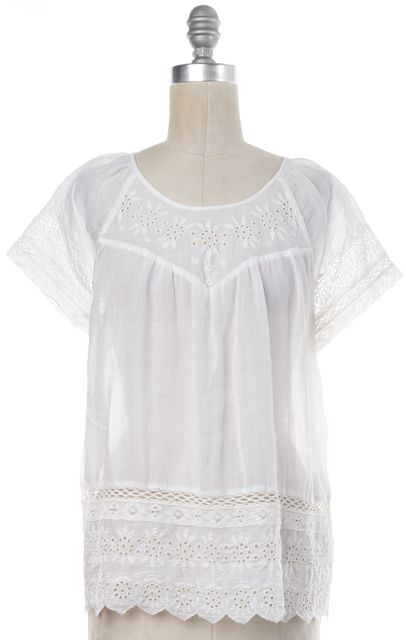 JOIE White Eyelet Blouse Top