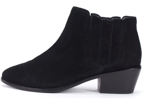 JOIE Black Suede Round Toe Ankle Chelsea Boots