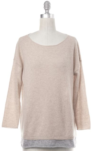 JOIE Beige Cashmere 3/4 Sleeve Knit Top With Gray Trim