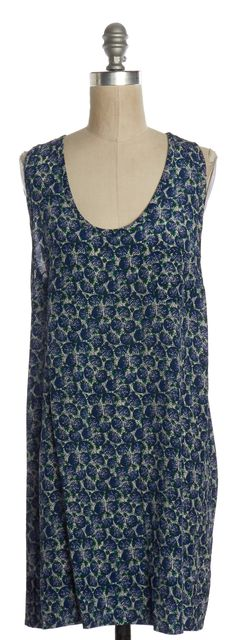 JOIE Blue Print Silk Racerback Shift Dress