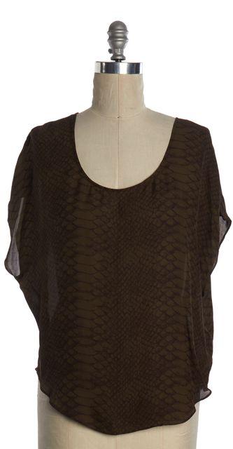JOIE Green Brown Python Print Silk Agacia Basic Tee Top