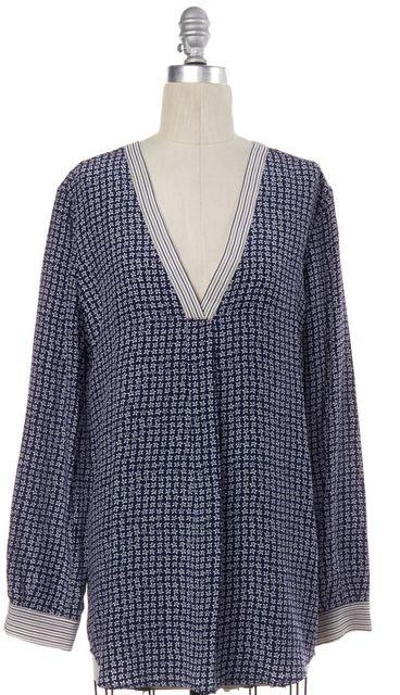 JOIE Navy Blue White Star Print Silk Oversized Blouse