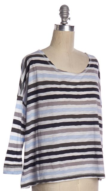 JOIE Blue Gray Striped 3/4 Sleeve Basic Tee Top