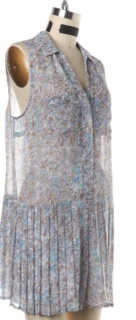 JOIE Blue Floral Print Silk Sleeveless Romper
