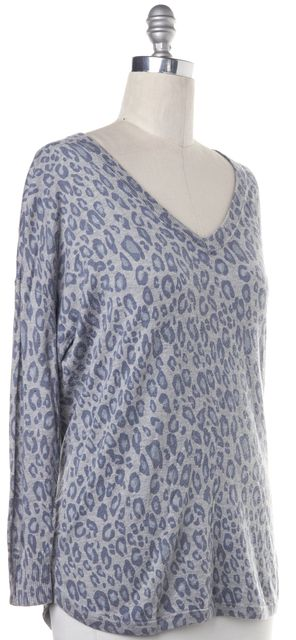 JOIE Gray Blue Leopard Print Knit Top