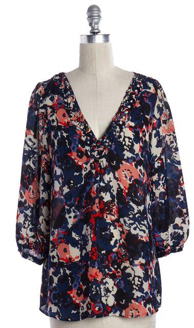 JOIE Multi-color Floral Print Silk Blouse Top