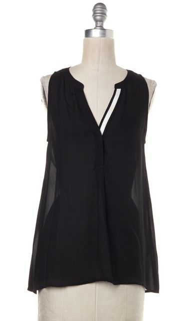 JOIE Black White Colorblock Sheer Silk Sleeveless Blouse