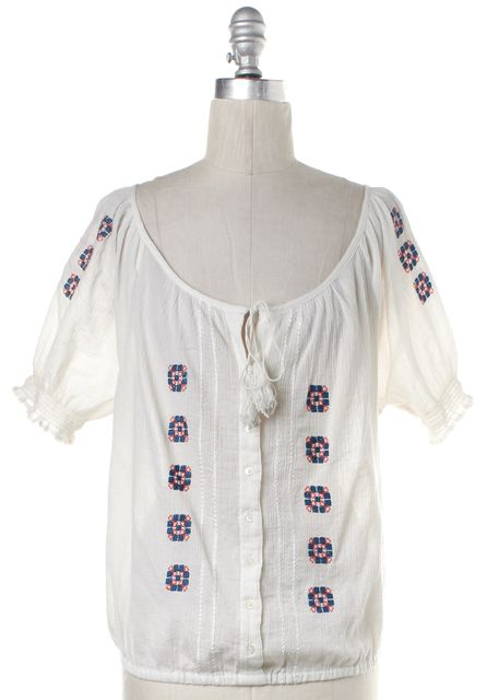 JOIE White Embroidered Cotton Button Down Top