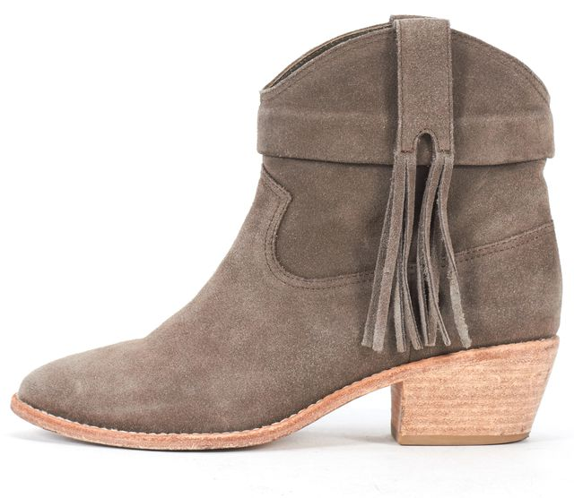 JOIE Gray Suede Leather Fringe Detail Ankle Boots