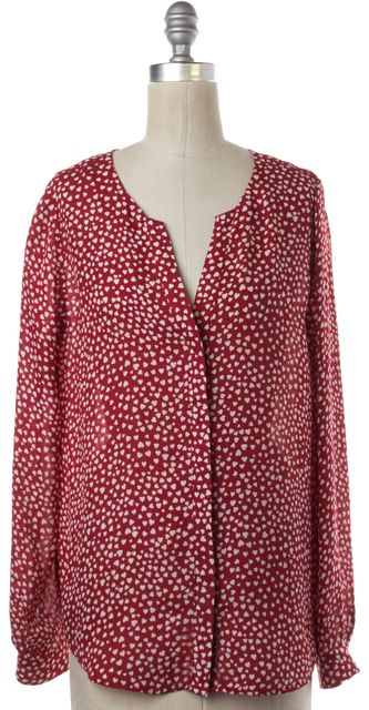JOIE Red White Heart Print Silk Button Down Shirt