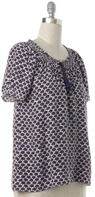 JOIE Multi-Color Elephant Print Silk Blouse Top