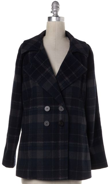 JOIE Navy Gray Plaids Basic Jacket Coat