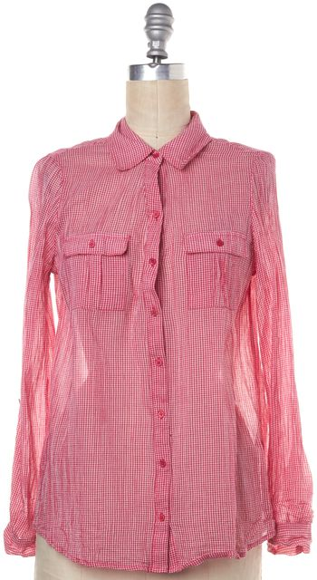 JOIE Red White Plaid Button Down Shirt Top