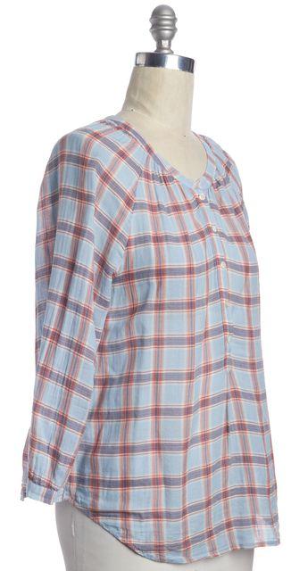 JOIE Blue Plaid Button Down Blouse Shirt Top