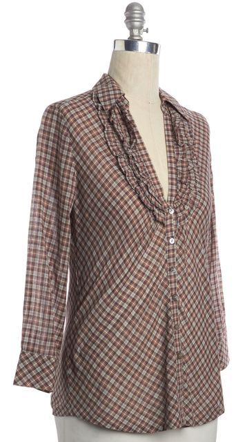 JOIE Red Plaid Ruffle Button Down Shirt