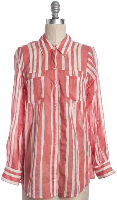 JOIE Red White Striped Button Down Shirt Top