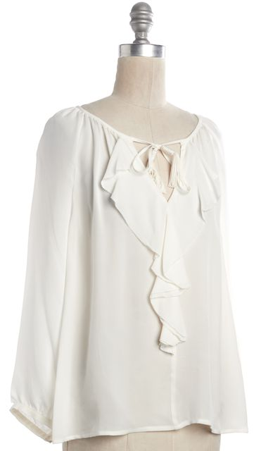 JOIE White Ruffle Tassel Neck Tie Front Blouse Top