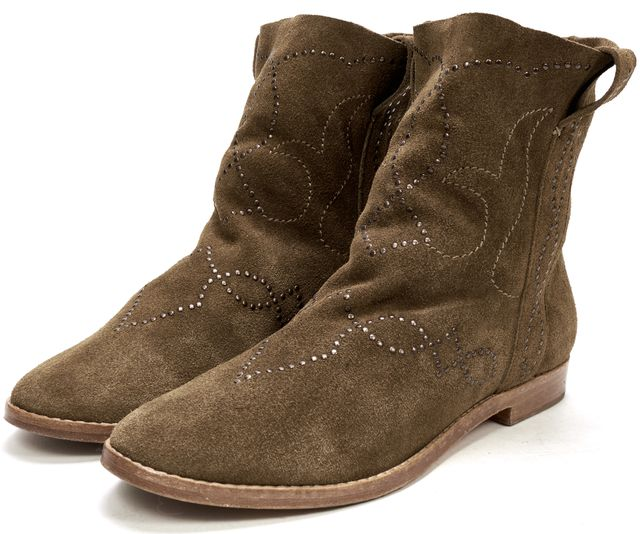 JOIE Brown Embellished Suede Ankle Boots