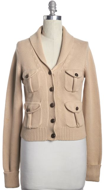 JOIE Beige Cotton Knit Cardigan Sweater