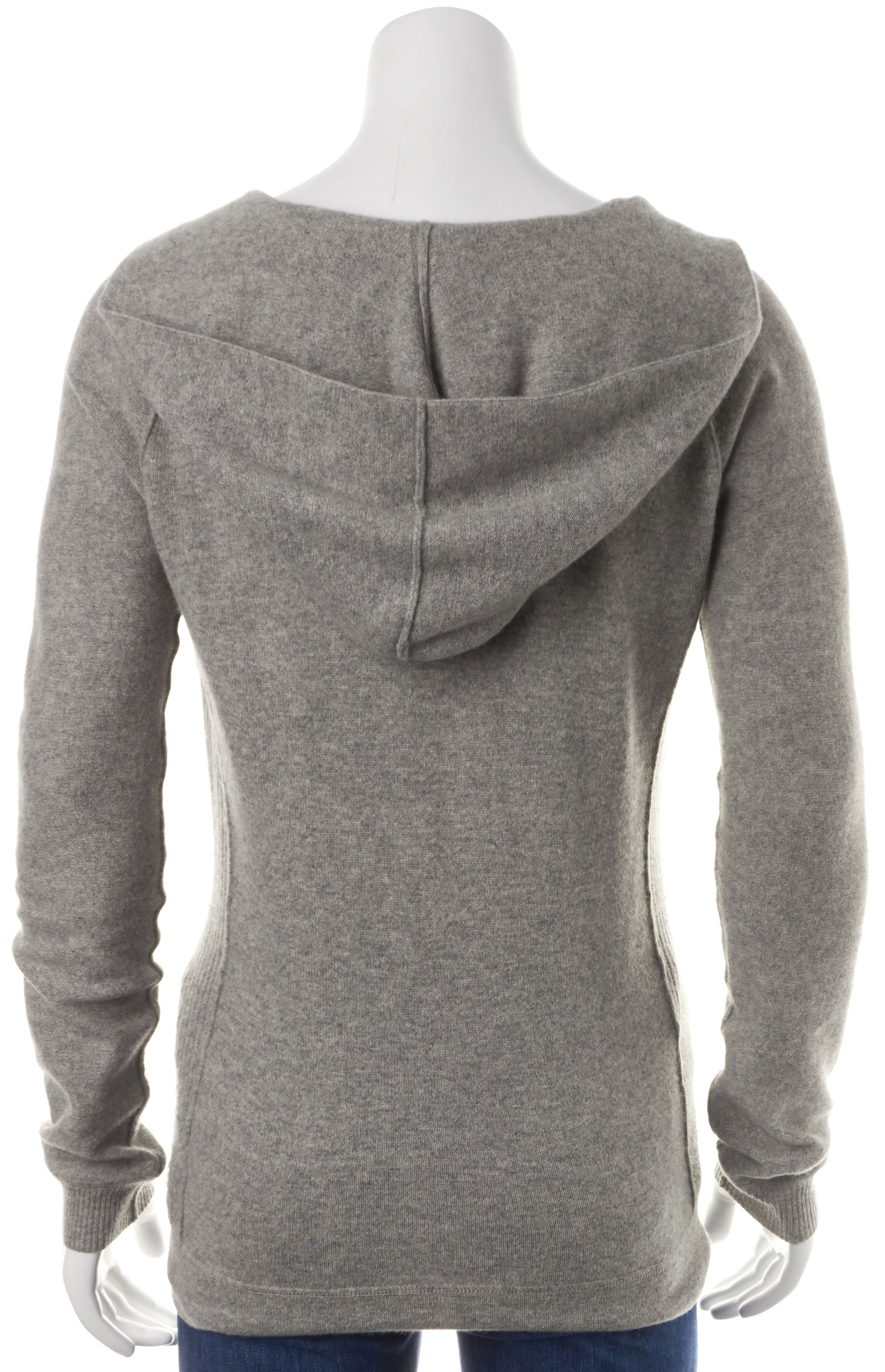Joie Gray Cashmere Pocket Front Hooded V-Neck Sweater | Material World