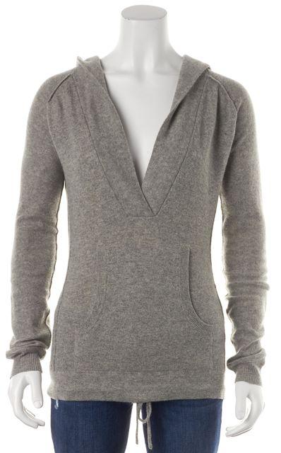 JOIE Gray Cashmere Pocket Front Hooded V-Neck Sweater