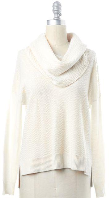 JOIE Ivory Chevron Wool Long Sleeve Ribbed Hem Cowl Neck Sweater