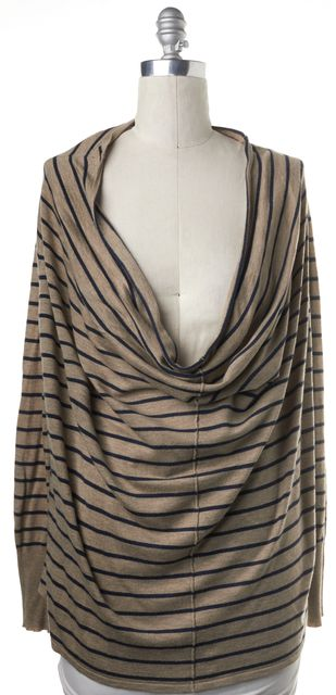 JOIE Brown Striped Cowl Neck Sweater