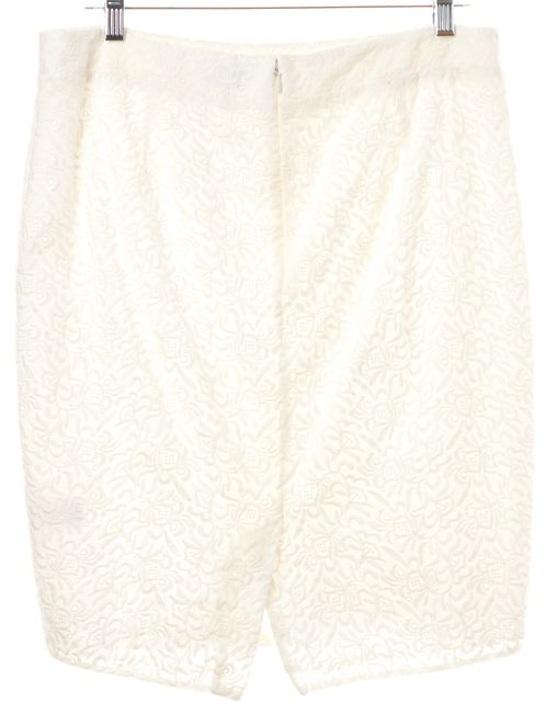 JOIE White 100% Cotton Floral Embroidered Pencil Skirt