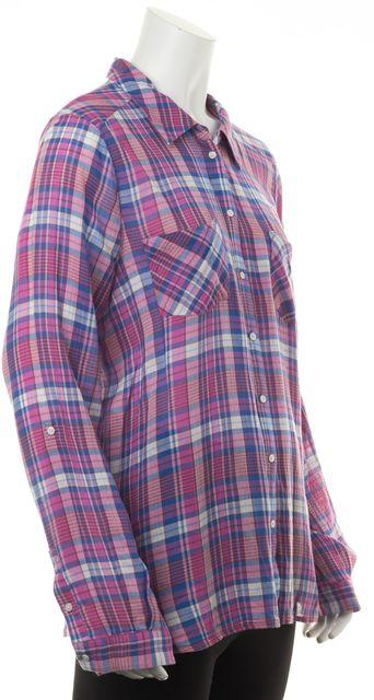 JOIE Purple Pink Blue Plaid Tissue Cotton Long Sleeve Button Down Shirt Top
