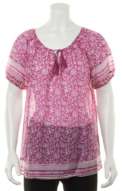 JOIE Magenta Pink White Floral Printed Sheer Cotton Silk Peasant Blouse Top