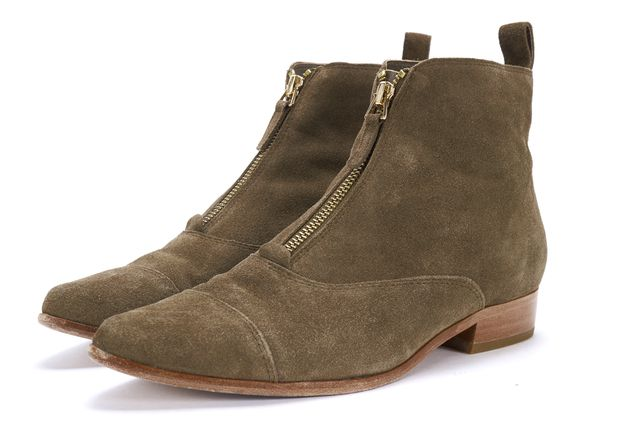 JOIE Olive Suede Gold Zipper Pull Tab Casual Pointed Ankle Boots