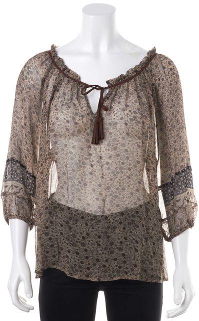 JOIE Brown Floral Printed Sheer Silk 3/4 Sleeve Peasant Blouse