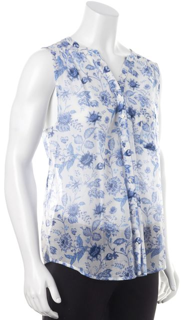 JOIE Sea Blue White Floral Jocelyn Sleeveless Button Down Shirt Top