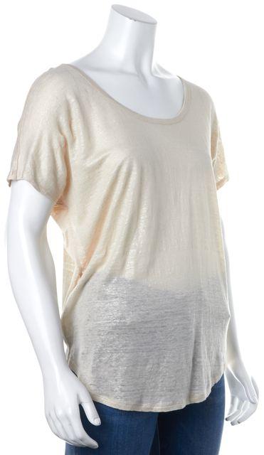 JOIE Blush Pink Glitter Linen Basic T-Shirt