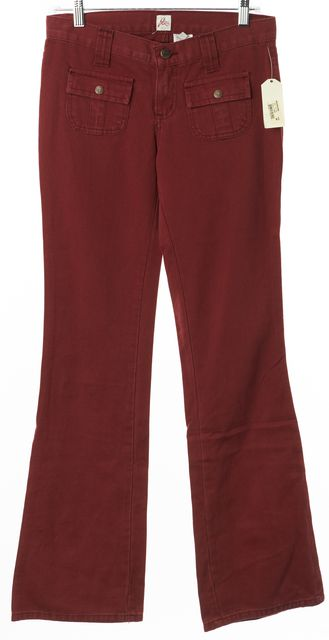JOIE Cranberry Red Smoke-Screen Casual Flare Leg Jeans