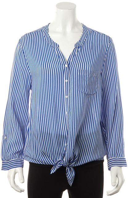 JOIE Blue Striped Silk Blouse
