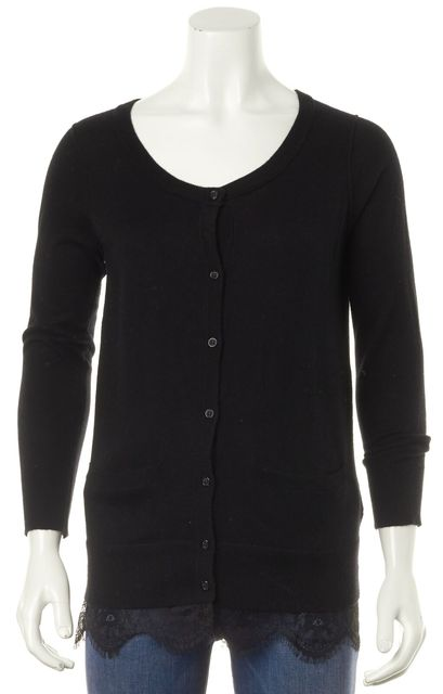 JOIE Black Lace Trim Long Sleeve Patch Pockets Knit Cardigan Sweater