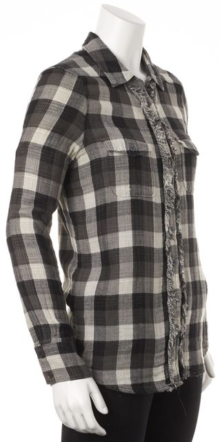 JOIE Gray Black Cotton Check Fringe Trim Long Sleeve Button Down Shirt Top