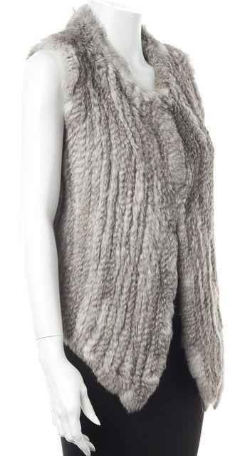 JOIE Gray Casual Fur One Clasp Long Drape Vest