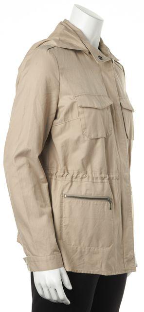 JOIE Beige Khaki Removable Hood Lightweight Zip Up Basic Jacket