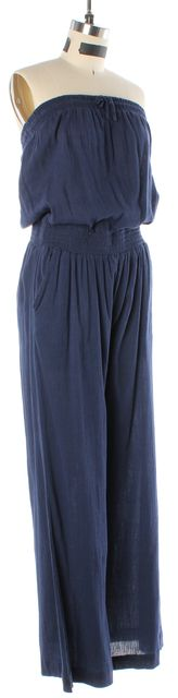 JOIE Navy Blue Cotton Crepe Strapless Stretch Waist Blouson Jumpsuit