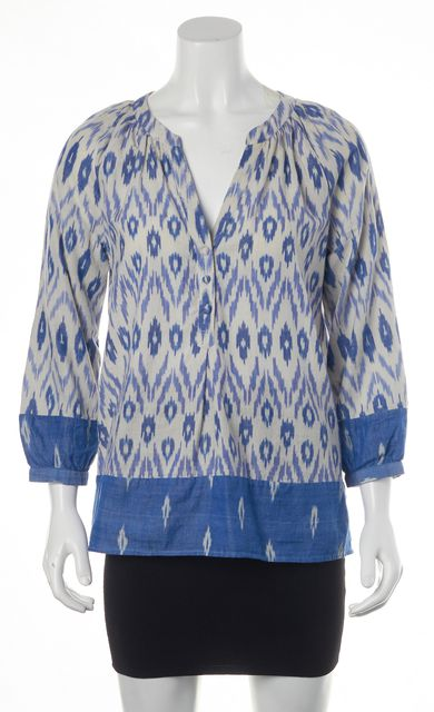 JOIE Blue Gray Abstract Cotton Long Sleeve V-Neck Blouse Top